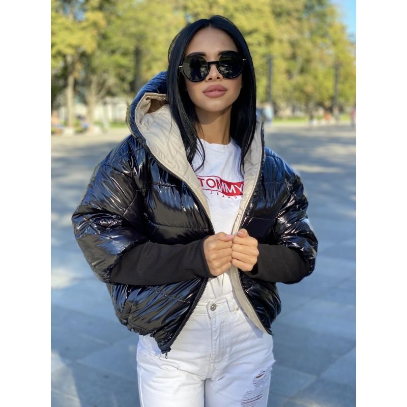 Куртка двусторонняя на молнии с капюшоном с широкими манжетами довяз рибана черный монклер/беж