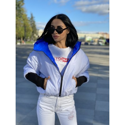 Куртка двусторонняя на молнии с капюшоном с широкими манжетами довяз рибана электрик монклер/белый