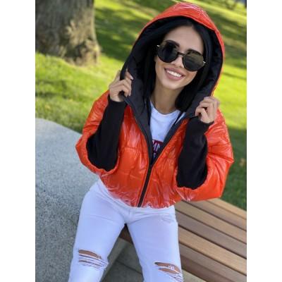 Куртка двусторонняя на молнии с капюшоном с широкими манжетами довяз рибана оранжевый монклер/черный