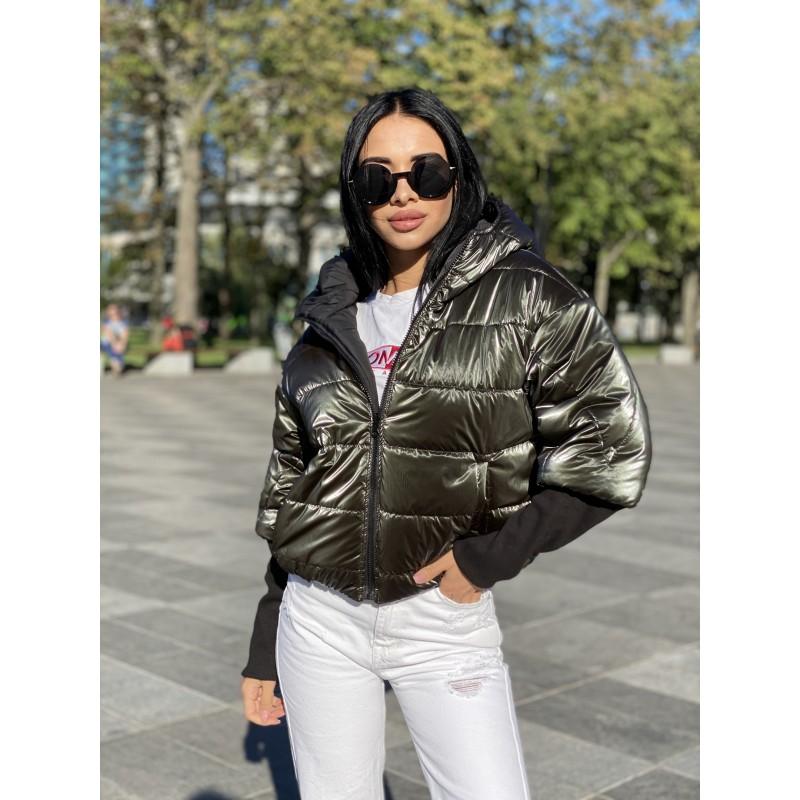 Куртка двусторонняя на молнии с капюшоном с широкими манжетами довяз рибана хаки монклер/черный