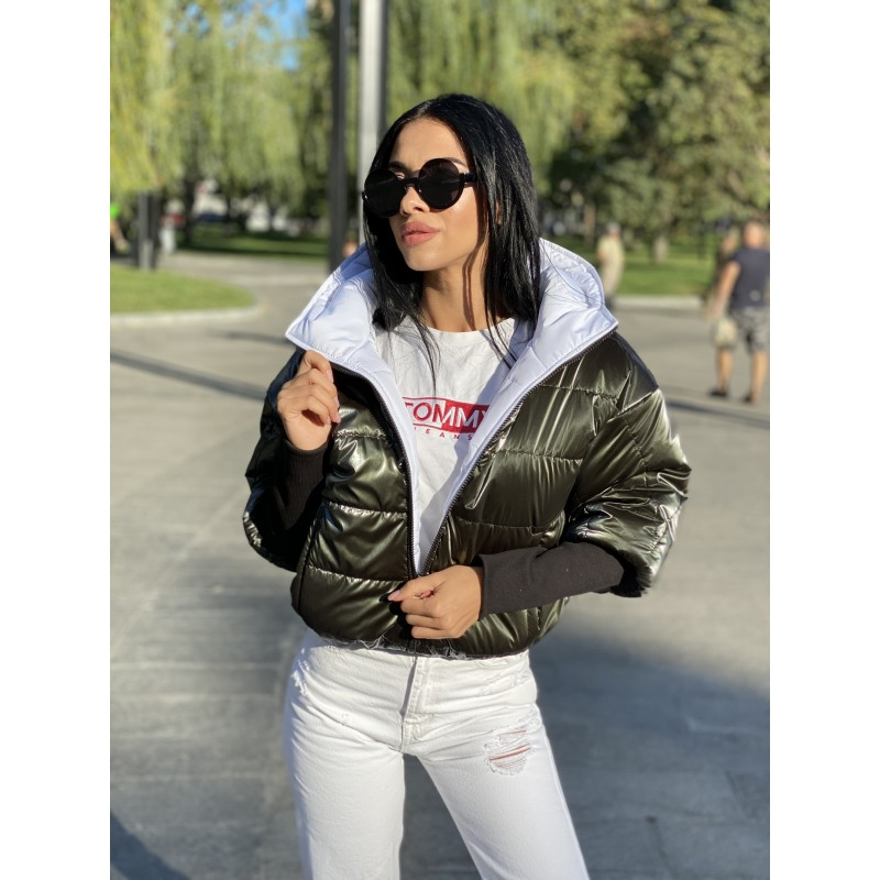 Куртка двусторонняя на молнии с капюшоном с широкими манжетами довяз рибана хаки монклер/белый