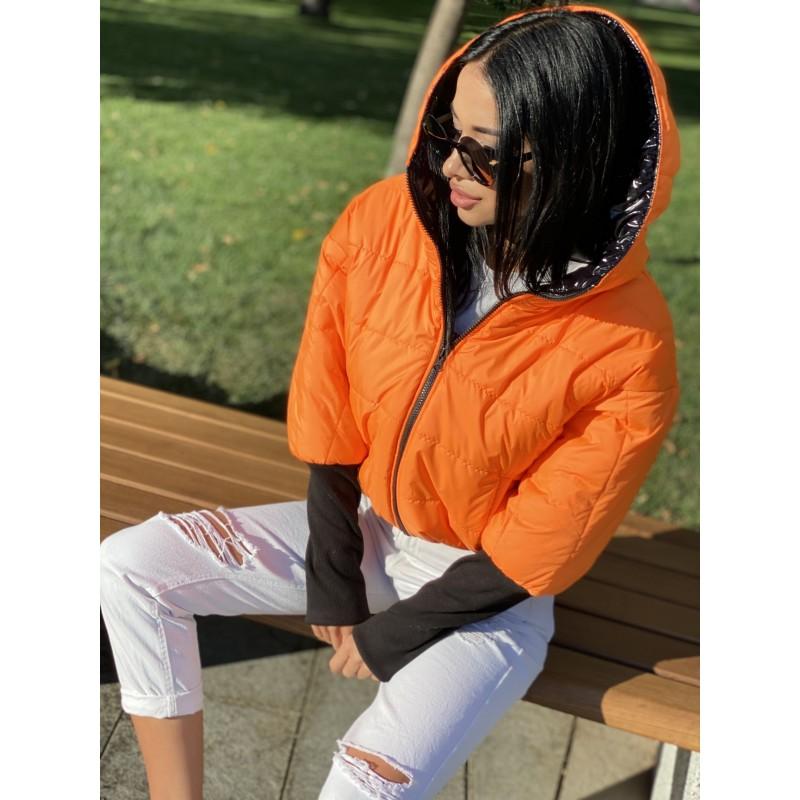 Куртка двусторонняя на молнии с капюшоном с широкими манжетами довяз рибана черный монклер/оранжевый