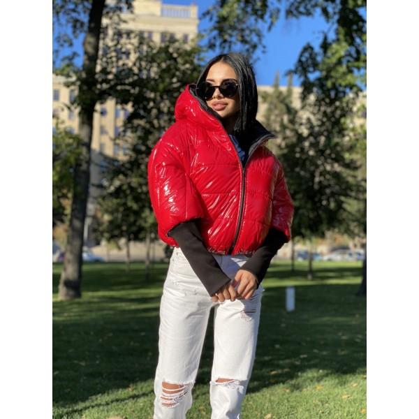 Куртка двусторонняя на молнии с капюшоном с широкими манжетами довяз рибана красный монклер/черный