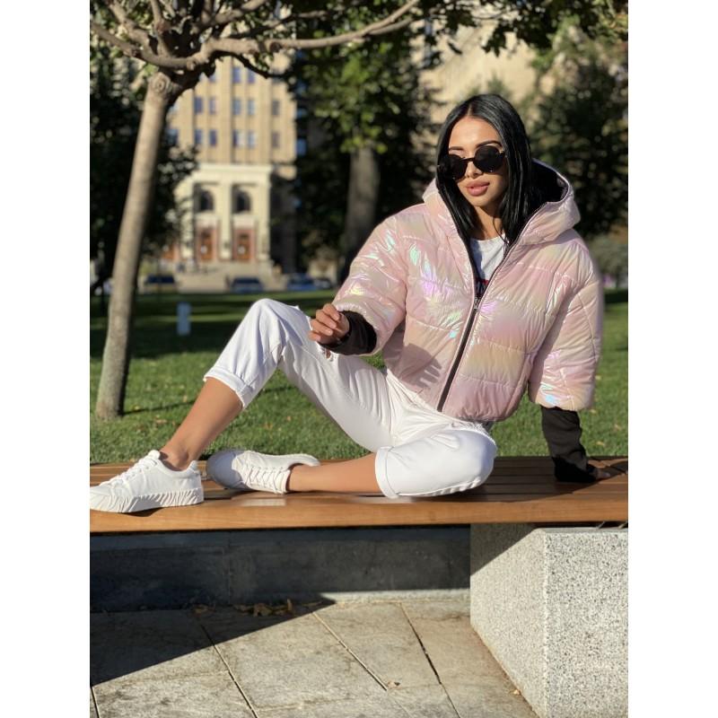 Куртка двусторонняя на молнии с капюшоном с широкими манжетами довяз рибана персиковый с перламутром/черный