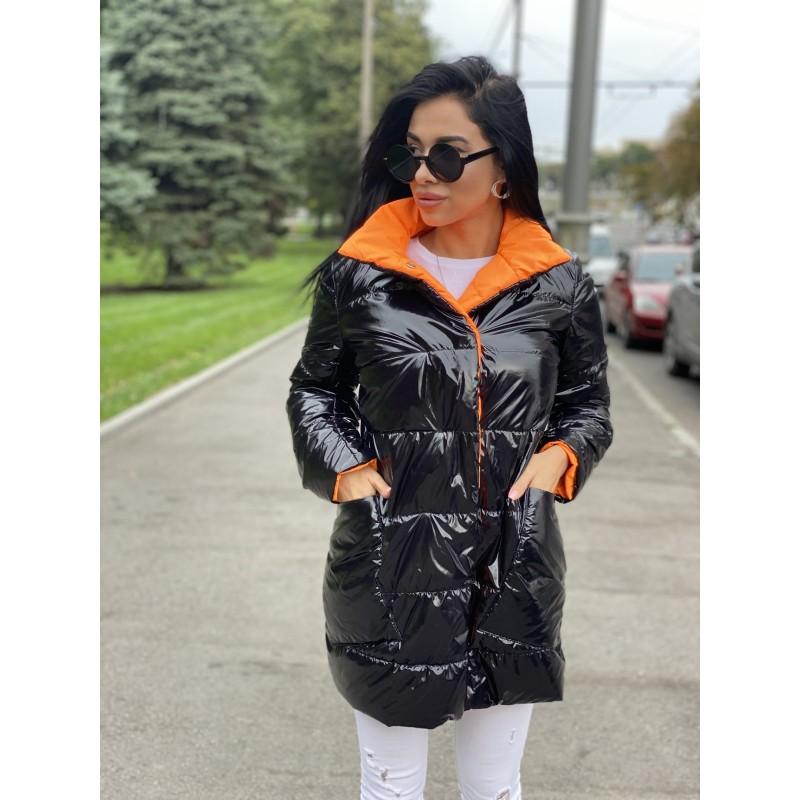 Куртка удлиненная двусторонняя на кнопках черный монклер/оранжевый