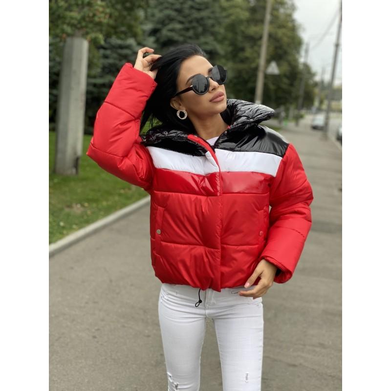 Куртка короткая на молнии с высоким воротом красная