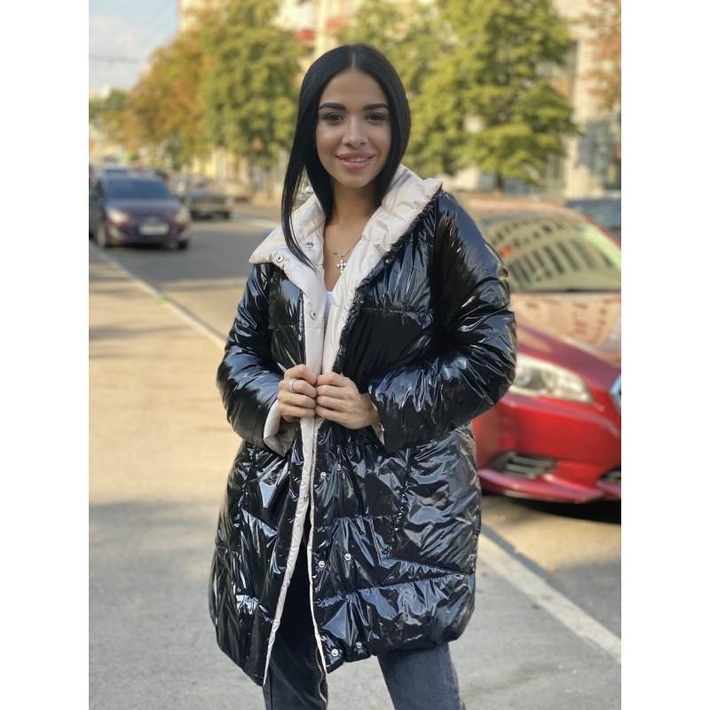 Куртка удлиненная двусторонняя на кнопках черный монклер/беж