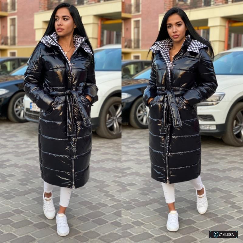 Куртка длинная на молнии с капюшоном черная + вставки гусиной лапки