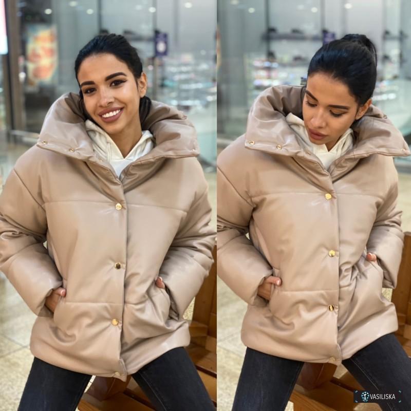 Кожаная куртка на подкладке с утеплителем беж