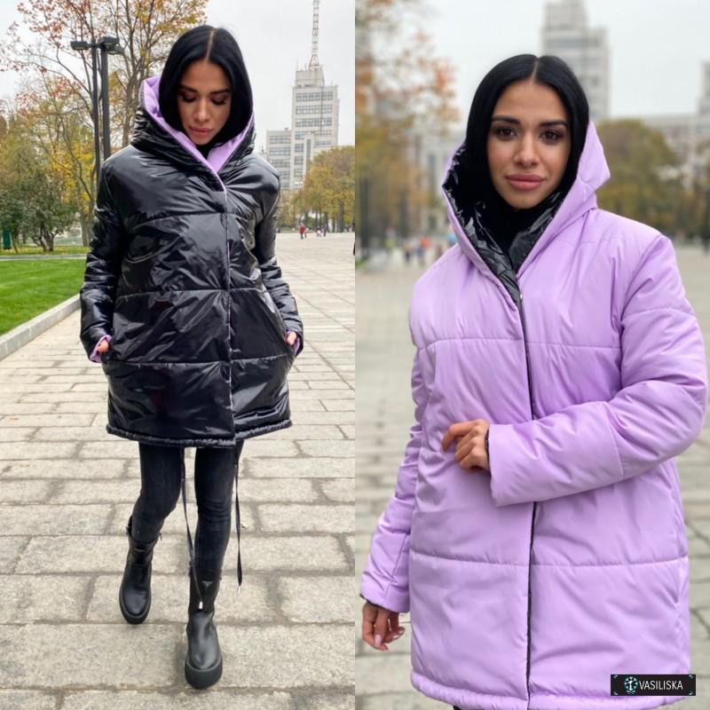 Куртка Зефирка двусторонняя сиреневый/черный лак