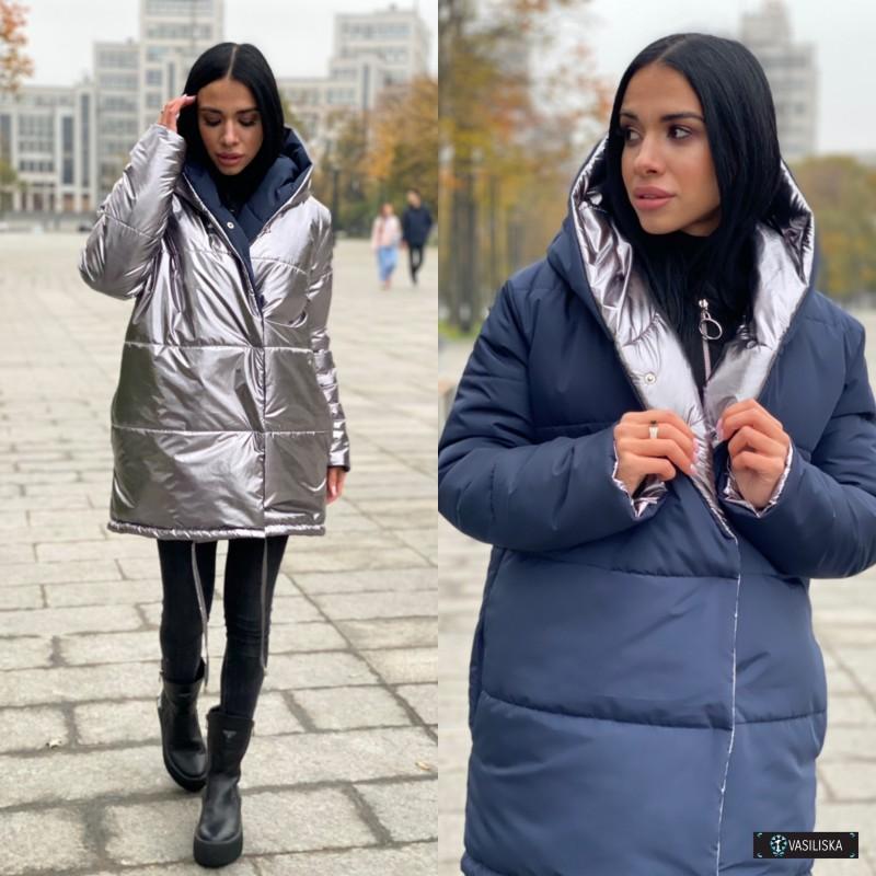 Куртка Зефирка двусторонняя серый металлик/неви