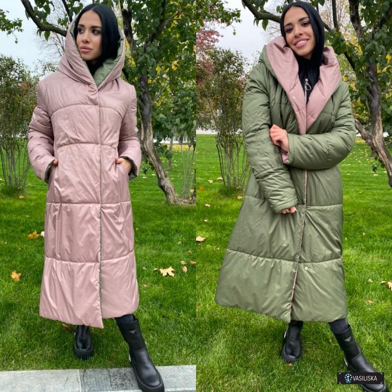 Куртка-пуховик Зефирка двусторонняя удлиненная фрез/хаки