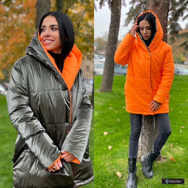 Куртка Зефирка двусторонняя хаки бархат/оранжевый