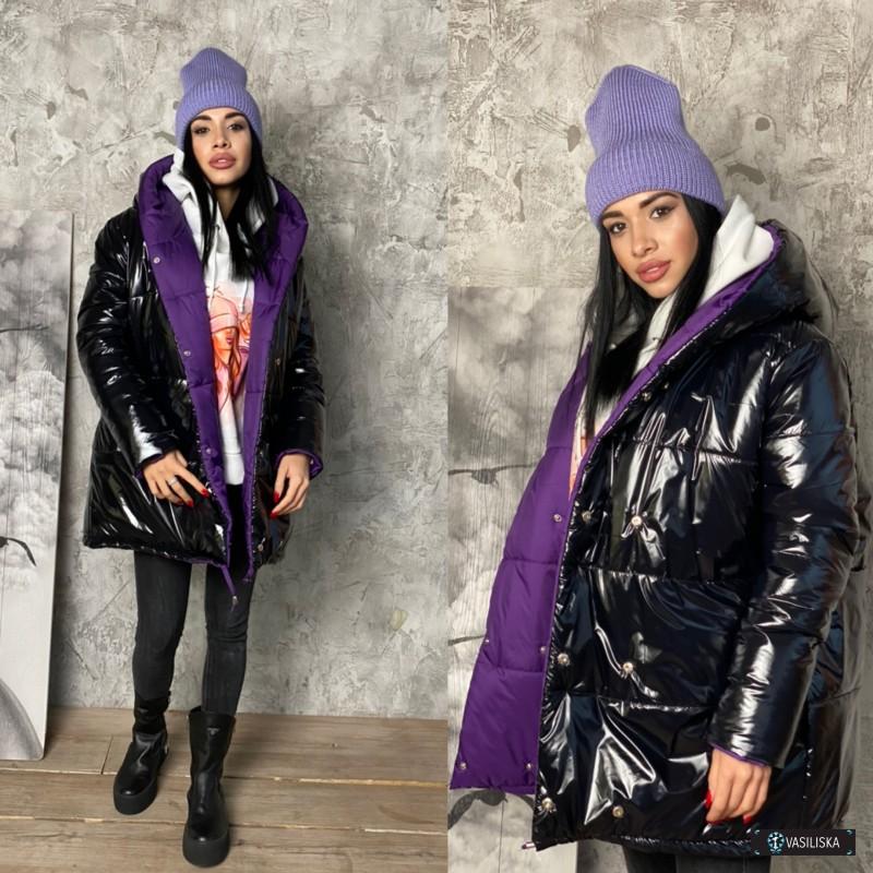 Куртка Зефирка двусторонняя фиолетовый/черный лак
