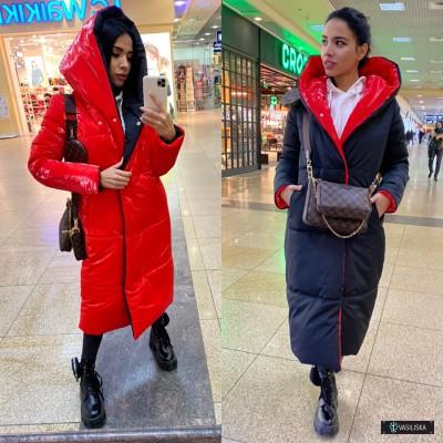 Куртка-пуховик Зефирка двусторонняя удлиненная черный/красный лак
