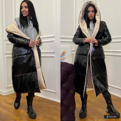 Куртка-пуховик Зефирка двусторонняя удлиненная беж/черный лак